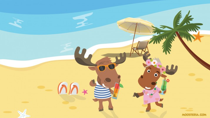 Moose Couple at the Beach wallpapers and stock photos