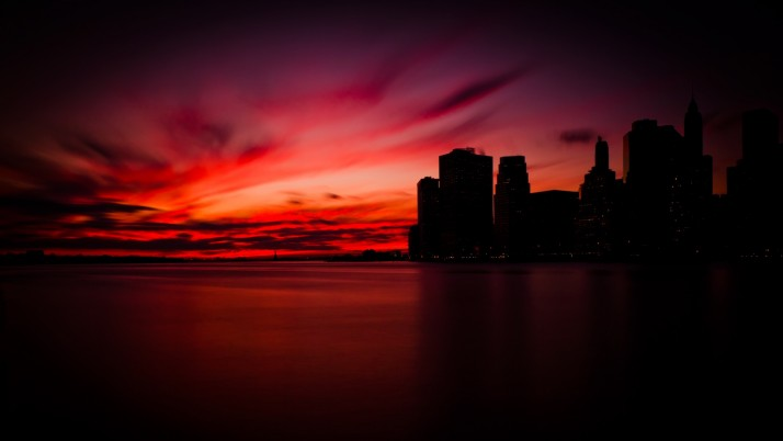 Puesta de sol en Manhattan wallpapers and stock photos