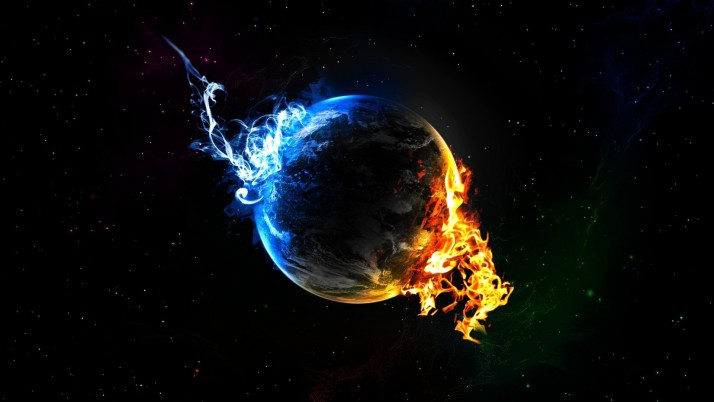 Fire and ice on the planet, fantasy wallpapers and stock photos