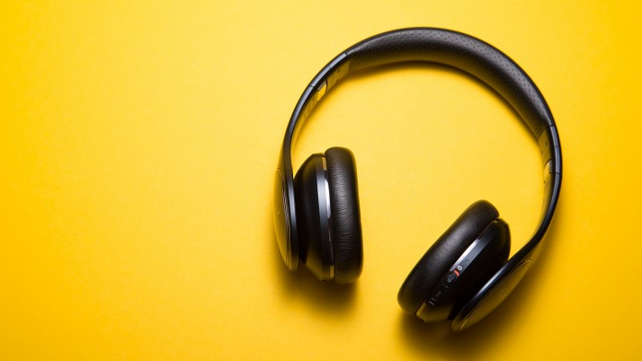 Headphones Yellow Background M wallpapers and stock photos