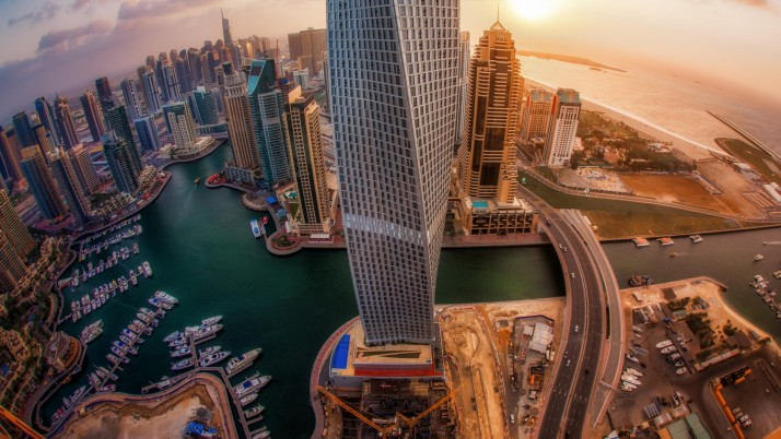UAE Skyscrapers Top View wallpapers and stock photos