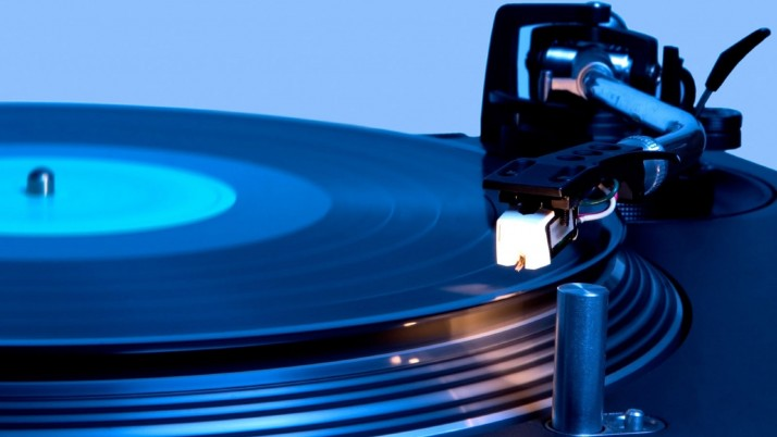 Vinyl Blue Light Player wallpapers and stock photos