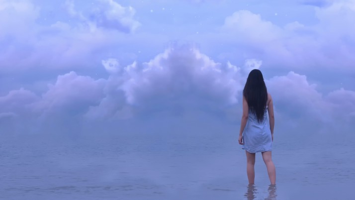 Girl Sea Horizon Sky Clouds wallpapers and stock photos