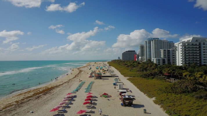 Miami Beach South view aerial wallpapers and stock photos