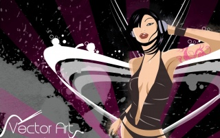 Vector music girl wallpapers and stock photos