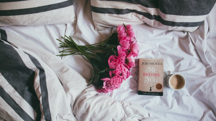 Random: book flowers coffee bed mood