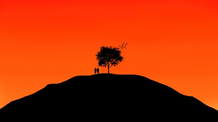 couple, tree, sky wallpapers and stock photos