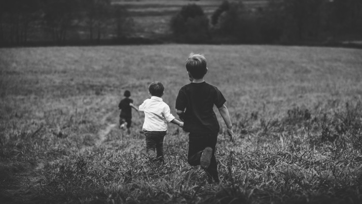 children, field, bw wallpapers and stock photos