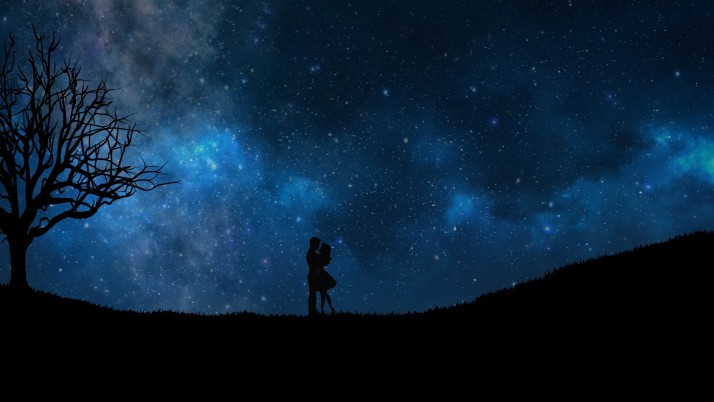 starry sky, couple, love wallpapers and stock photos