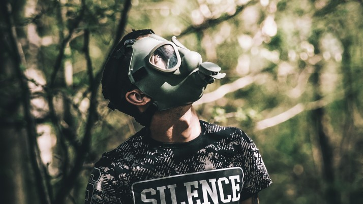 gas mask, guy, inscription wallpapers and stock photos