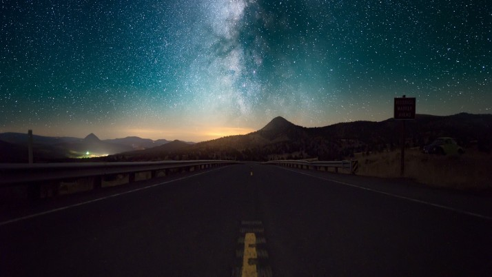 Starry Sky Horizon Night Road wallpapers and stock photos