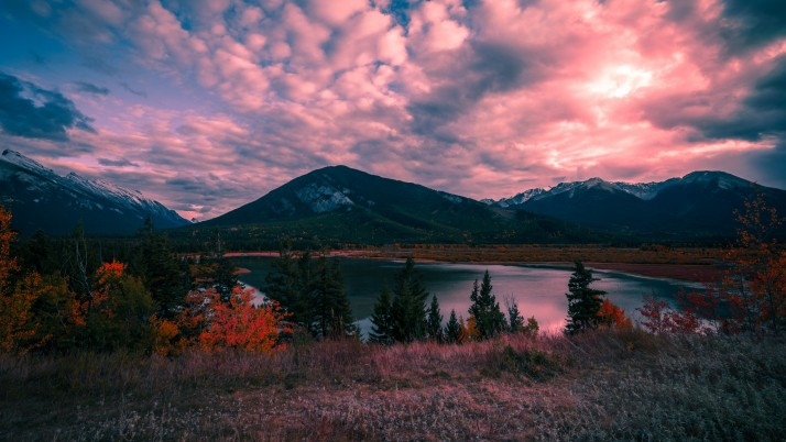 mountains, lake, sunset wallpapers and stock photos