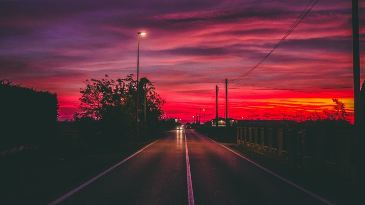 road, sunset, horizon, marking wallpapers and stock photos