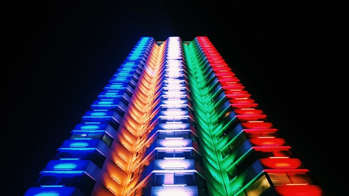 building, light, multicolored, wallpapers and stock photos
