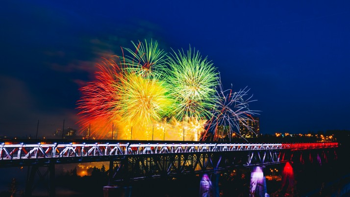 fireworks, bridge, holiday wallpapers and stock photos