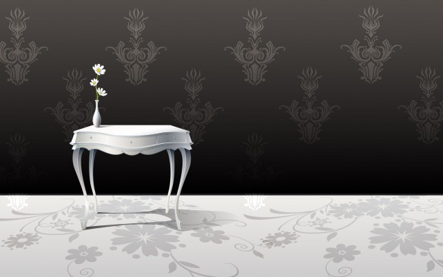 Vase on white table, vector wallpapers and stock photos