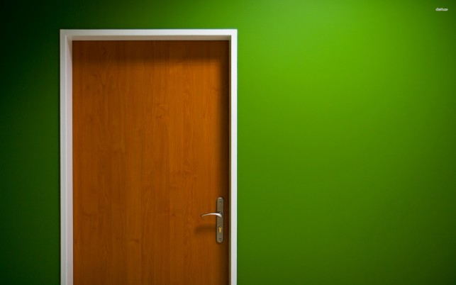 Door and green wall, 3d wallpapers and stock photos