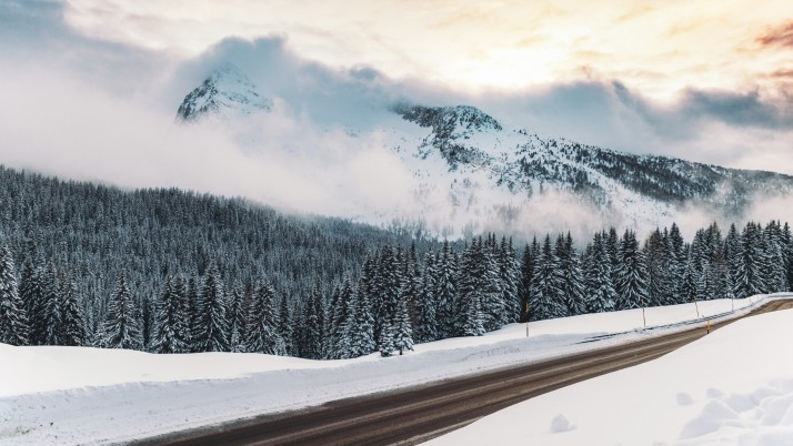 winter, snow, road, mountains, wallpapers and stock photos