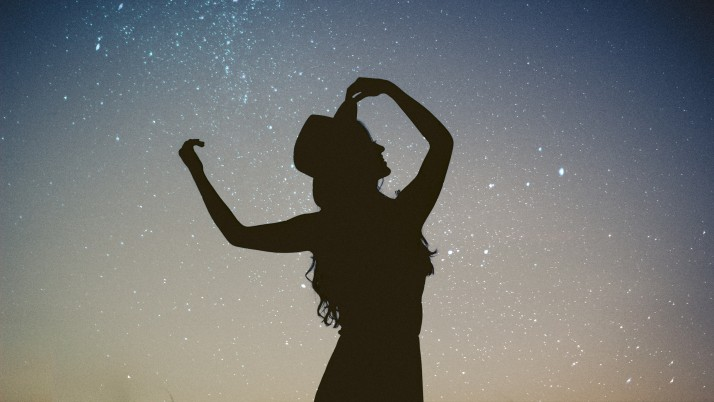 silhouette, girl, starry sky wallpapers and stock photos