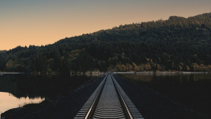 railway, evening, horizon wallpapers and stock photos