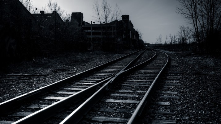 railway, sky, evening, bw wallpapers and stock photos
