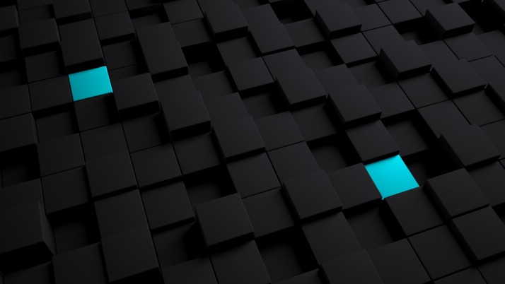 Random: cubes, structure, black, blue