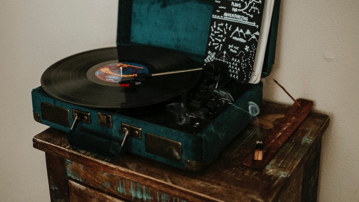 Next: vinyl record player, record