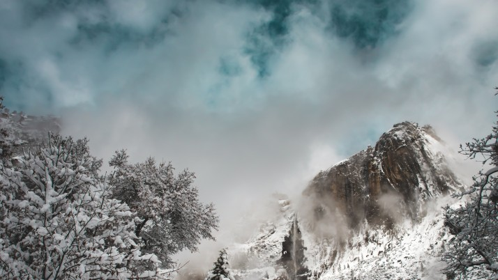 mountains, winter, snow, cloud wallpapers and stock photos