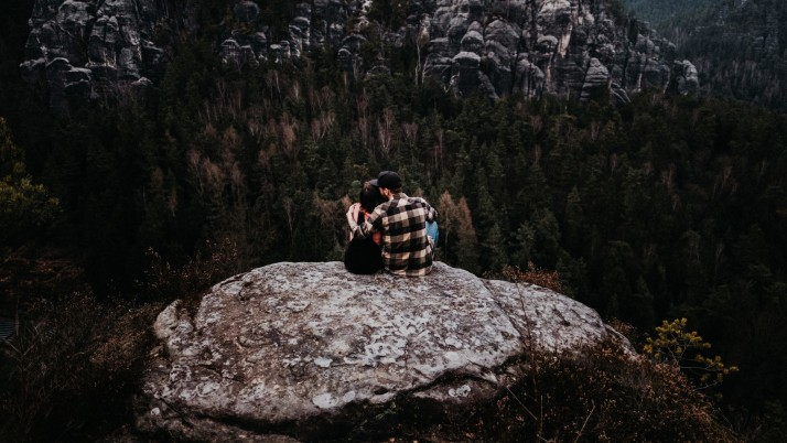 couple, rocks, mountains, top wallpapers and stock photos
