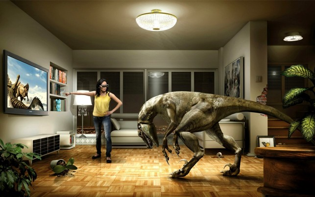3D tv, television, dinosaur, digital-art wallpapers and stock photos
