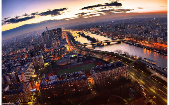 Paris Night,  panorama, city wallpapers and stock photos