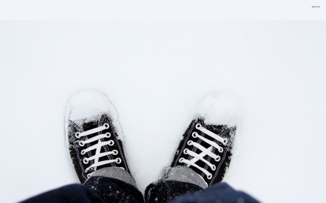 Sneakers in the snow, shoe, winter, photography wallpapers and stock photos