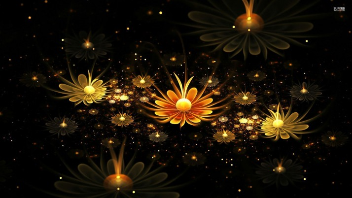 Fractal glowing daisies, daisy, light, 3d wallpapers and stock photos