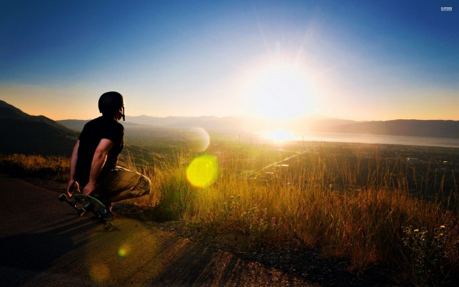 Skater watching the sunset, skateboard, photography wallpapers and stock photos