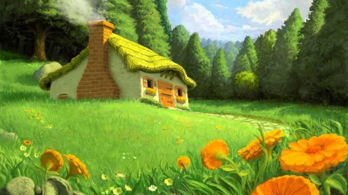 Previous: Cottage in the forest, house, tree, grass, floral, artistic