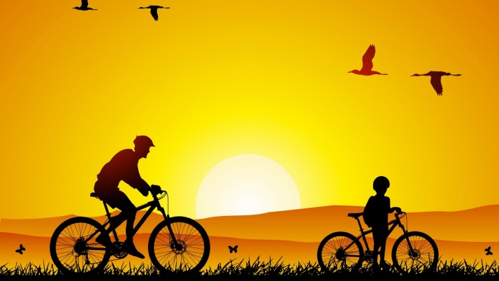 Cycling Sunrise Art wallpapers and stock photos