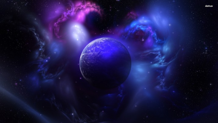 Nebula and planet, fantasy wallpapers and stock photos