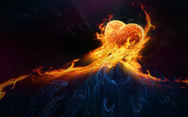 Flaming heat, heart, flame, fire, hand, digital-art wallpapers and stock photos