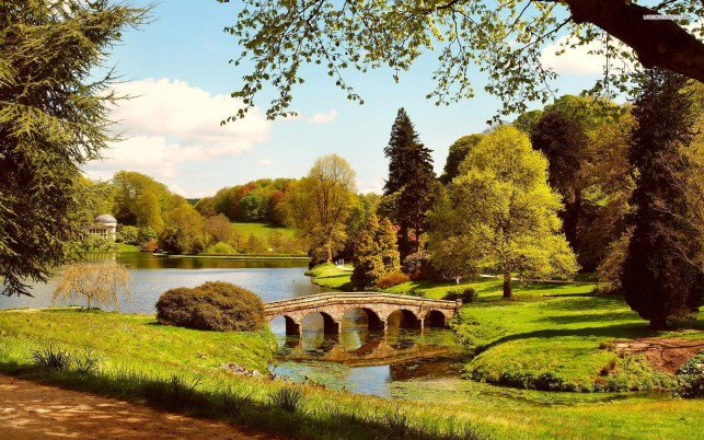 Stourhead Garden, wiltshire, england, tree, bridge, lake, sky, cloud, world wallpapers and stock photos