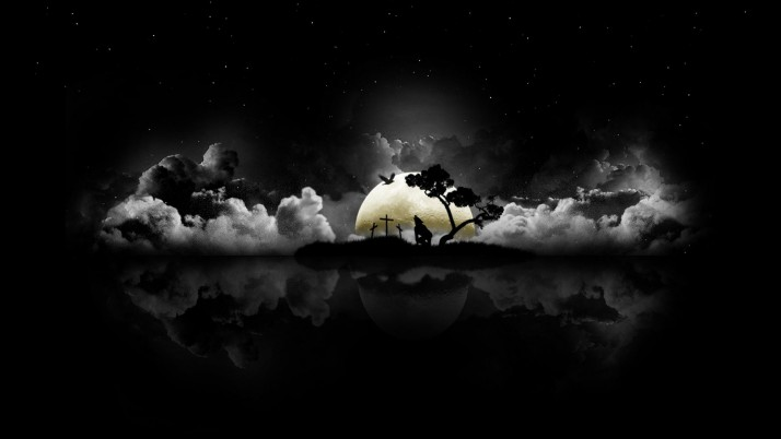 Negro, halloween, luna, nubes, abstracto wallpapers and stock photos