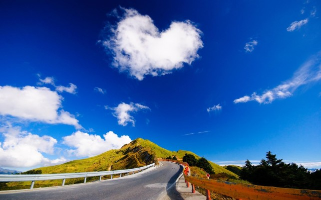 Heart shaped cloud over the road, hill, sky, digital-art wallpapers and stock photos