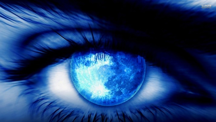 Moon reflecting in the eye, digital-art wallpapers and stock photos