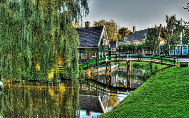 Small town, willow, tree, bridge, river, house, digital-art wallpapers and stock photos