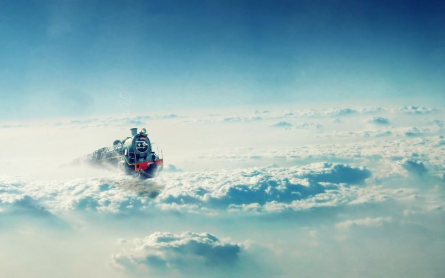 Cloud Train, landscapes, fantasy, art wallpapers and stock photos