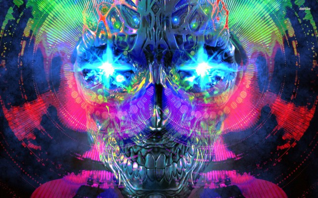 Psychedelic skull, artistic wallpapers and stock photos