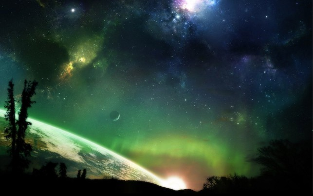 Nebula over the planet, galaxy, tree, forest, aurora, digital-art wallpapers and stock photos
