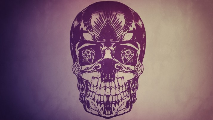 Skull with diamond eyes, artistic wallpapers and stock photos