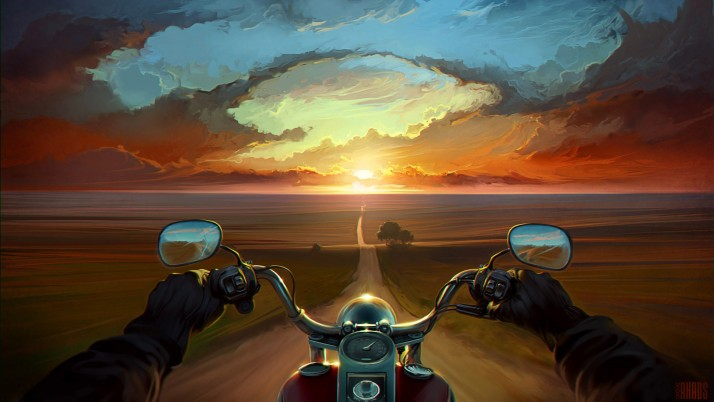 Land Of The Wind, art, motorcycle, sunset, bike, trees wallpapers and stock photos