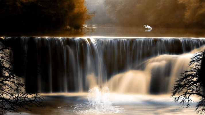 Schöner Herbst, Wasserfall, sonnig, Kran, Natur wallpapers and stock photos