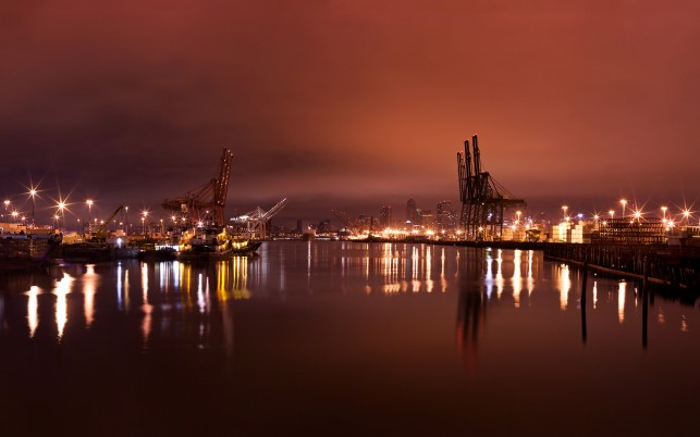 Seattle Harbor Night, city, cities wallpapers and stock photos
